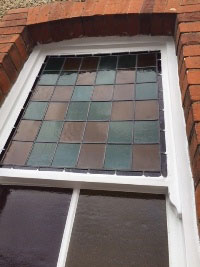 Stained glass sash window after the restoration
