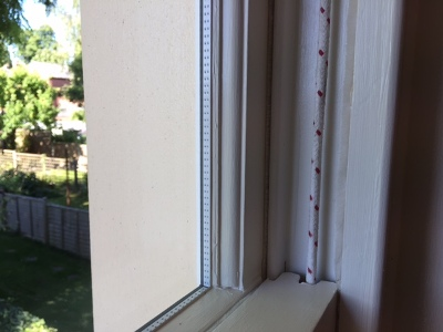 Sash window refurbished and draught proofed
