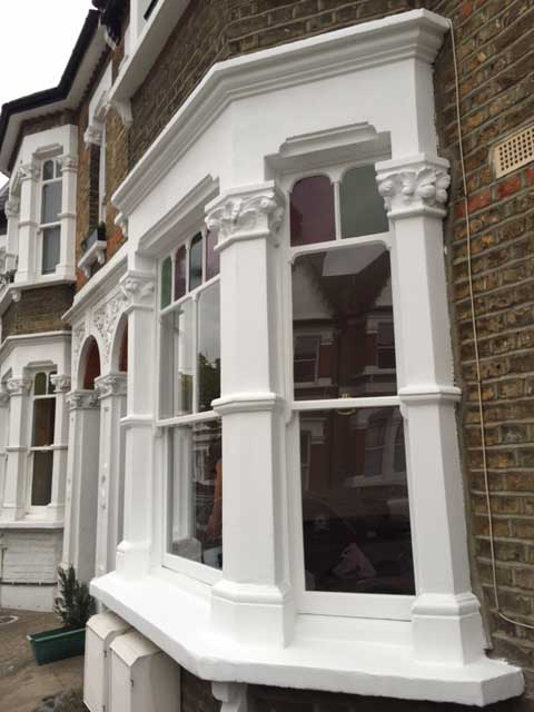 Beautifully restored bay sash windows in Hackney
