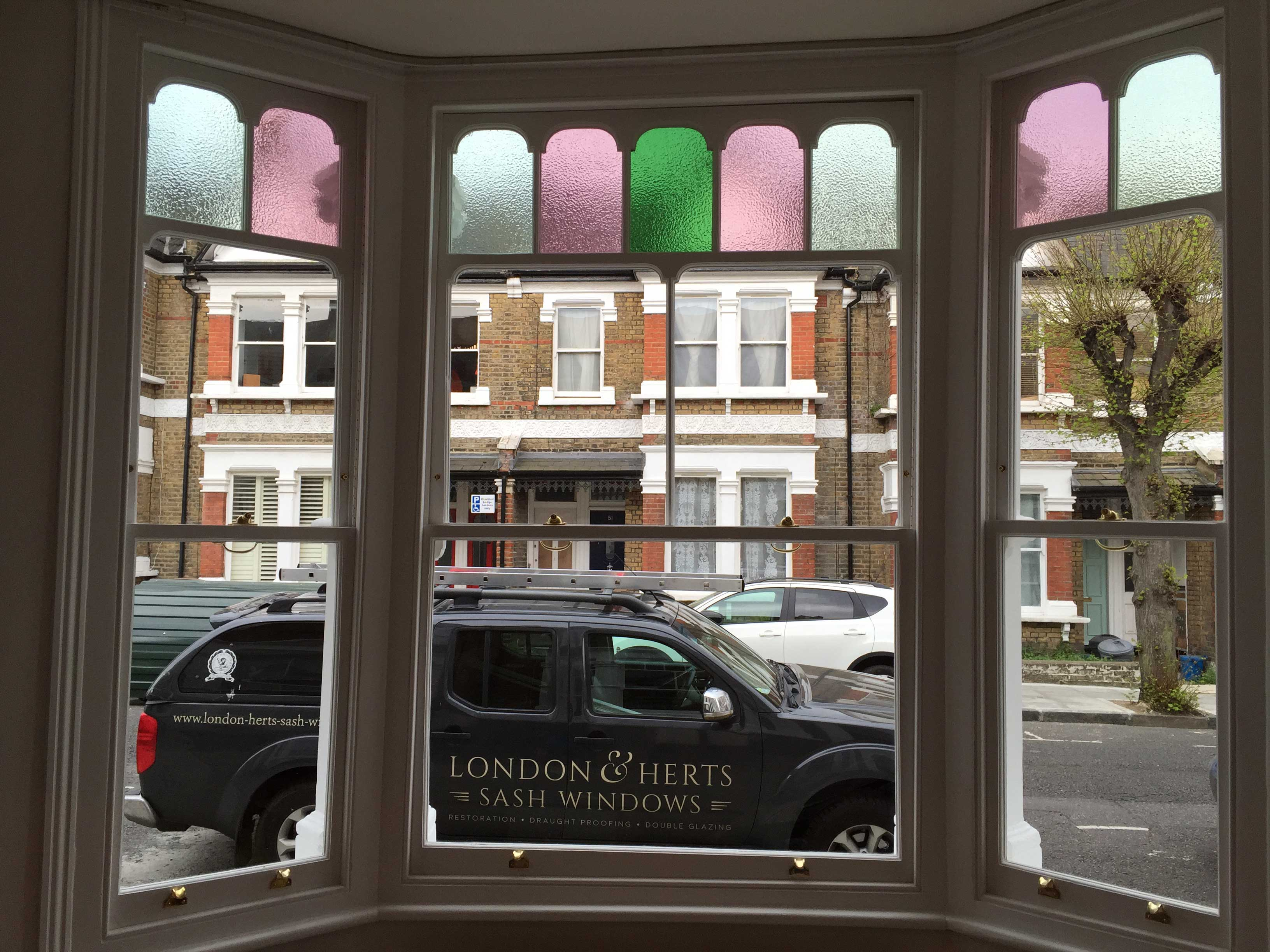 Inside of the restored sash bay window - work carried out by London & Herts Sash Windows