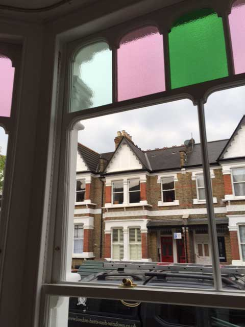 Stained glass glazing restored during the window renovation