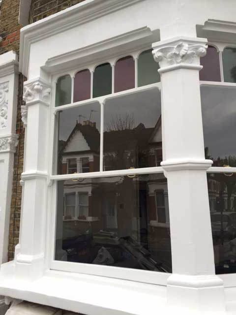 Restored timber bay window