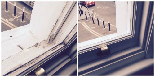 Before and after the repair of the sash windows