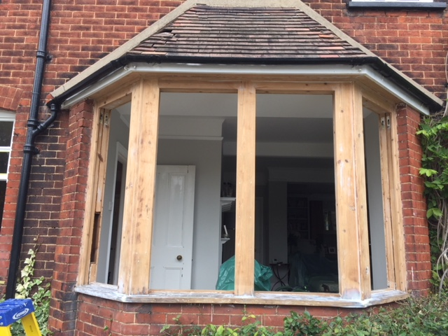 Timber bay window being restored