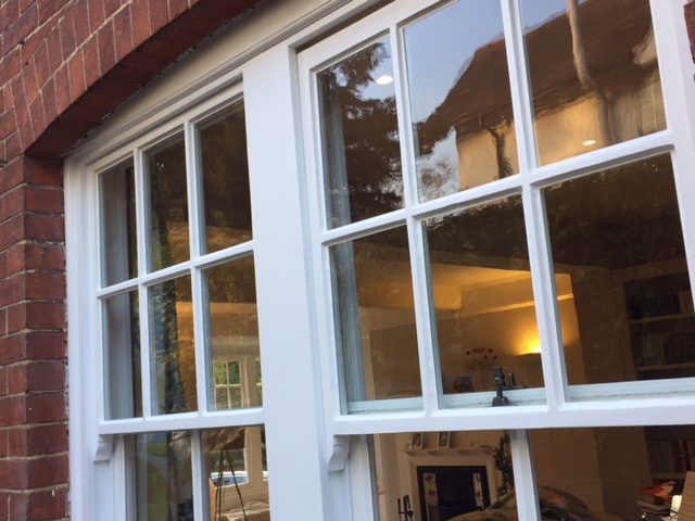 Completed sash window restoration at a house in Bishop's Stortford