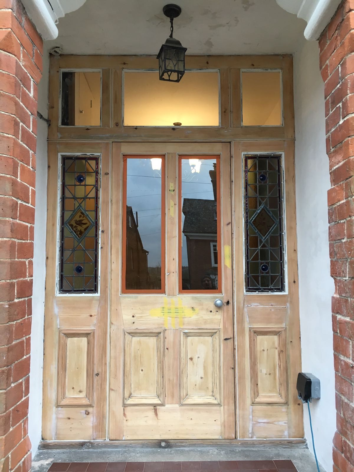 Saffron Walden timber door being renovated
