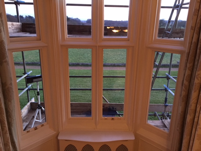 Internal view from restored bay sash windows