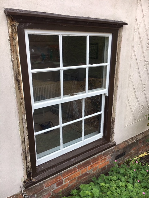 Rotten timber window frames and sash window