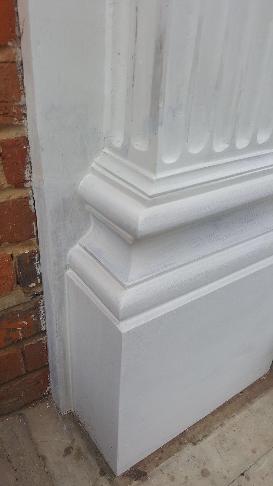 Decorated restored timber entrance door column