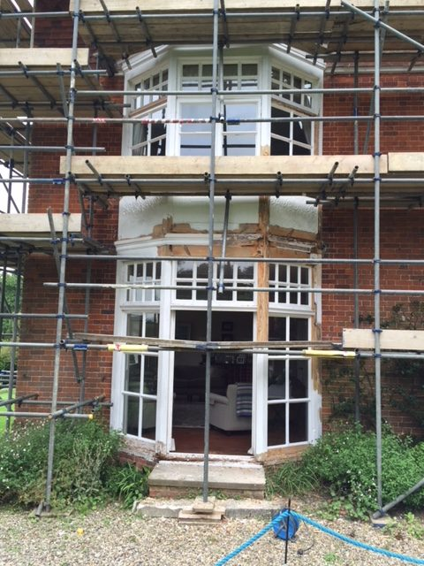 Timber sash window restoration in Finchingfield, Essex