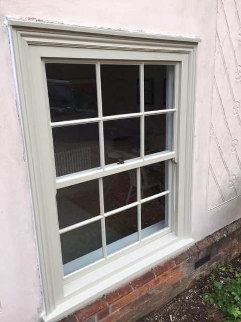 Restored sash window and timber frames, Radwinter Essex