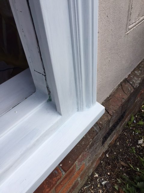 Repaired frames from a sash window restoration in Radwinter