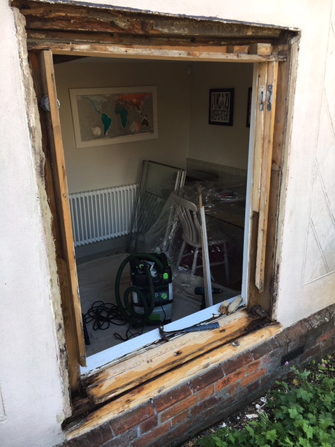 Removed sash window during the restoration process