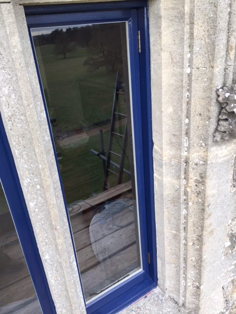 Timber casment windows being restored to former glory